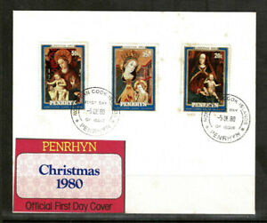 Penrhyn 1980 Christmas First Day Cover With Complete Set Of Three Stamps - Mint