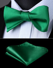 Mens Classic Party Wedding Green Solid Self Bow Tie Pocket Square Set#BL201GS
