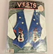 Dimensions Applique Felt Vest Kit Stars and Snowmen 62088 Ugly Sweater S - 2X