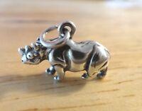 Sterling Silver 3D 11x16mm Rhino Rhinoceros Zoo Animal Charm