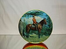 VINTAGE TIN ROUND BOX - CANADIAN MOUNTIE ON PATROL - 15.0cm - GOOD - ONLY BOX