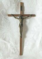 "Vintage 10"" Wood Brass INRI Crucifix Cross Jesus Christ Wall Religious NEW NIB"