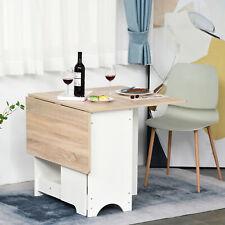 Drop-Leaf Dining Table Folding Desk Foldable Bar Table with Storage Shelf
