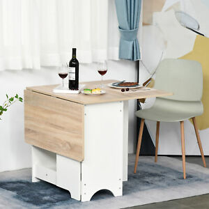 Drop-Leaf Dining Table Folding Desk Foldable Bar Table with Storage Shelf