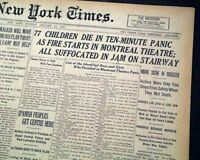 LAURIER PALACE THEATRE FIRE Montreal Quebec Movie Theater Disaster1927 Newspaper