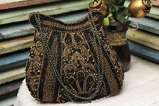 Designer Glam Bag Black Beaded Evening Bag Bronze Embroidery Noly Fuentes