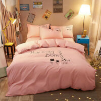Pink Cartoon Print Bedding Set Duvet Quilt Cover+Sheet+Pillow Case Four-Piece