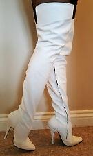 Sexy White Matt Leather Extra Length Thigh Length Boots inside zip UK 8 EU 41
