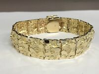 "14kt Solid Yellow Gold Handmade Nugget Bracelet 17 mm 48 grams 8.5"""