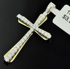 14k Solid Yellow & White Gold Natural Diamond Cross pendant 0.52 ct