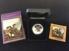 2013 tuvalu $1 dragons of legend, three headed dragon, proof silver coin