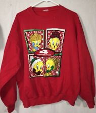 Vintage 90s Looney Tunes Sweatshirt Women's Tweety Bird Size L Red
