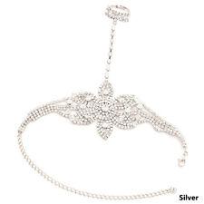 New Crystal Flower Shape Bracelet Finger Ring Bangle Wedding Party Jewelry Gift
