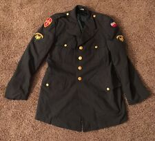 US ARMY UNIFORM COAT TROPICAL 38R AG-344 CLASS 3  (USED) WITH PATCHES