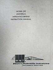 Electro Scientific Model 291 Universal Impedance Bridge Instruction Manual