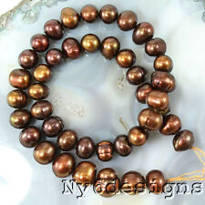 "10x9m Tahitian Brown Freshwater Potato Pearl Beads 15"" (PE205)b"
