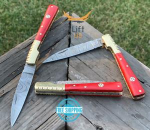 "Custom Handmade Damascus Steel Pocket Knife Folding Blade RED Wood Handle 8"""