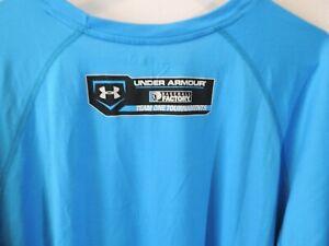 "Mens Under Armour Baseball Factory Hear Gear ""I Will"" Blue Big Logo Shirt 2XL"