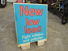 Vintage Sign Gas Station Gas Pump Sign Low-Lead Topper  1970s NOS 2 Sided