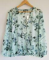 Soho Jeans New York & Company NWT Women's XL Long Sleeve Mint Floral Blouse