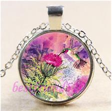 Hummingbird Purple Thistle Cabochon Glass Tibet Silver Pendant Necklace#CD38