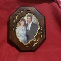 Vtg British Registered Design Frame Cutout Design Gold Inlay with Vintage pic