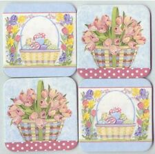 Longaberger Coasters 2 Easter Basket w Eggs Flowers 2 Spring Basket of Tulips