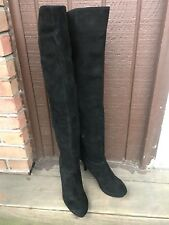 Nine West NWDESTRY Womens 6M Black Suede Casual Over Knee High SideZip Boots-427