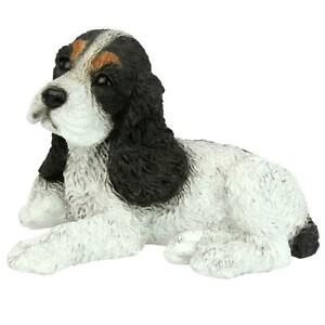 Design Toscano Black & White Cocker Spaniel Puppy Dog Statue
