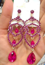 Statement Evening Wedding Chandelier Earrings Crystal Fuchsia Pink Teardrop Long