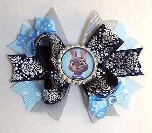 2 Judy Hopps Hairbow SET! Zootopia, Boutique, ribbon, Handmade, bunny, police