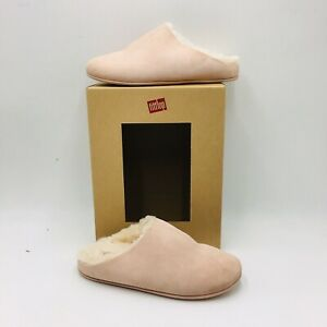 FitFlop Women's Chrissie Shearling Slippers Size 6 Nude Suede