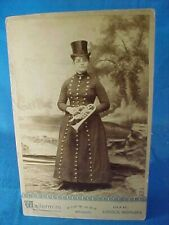19thc CABINET CARD -WOMAN MUSICIAN-TRUMPET PLAYER Studio PHOTOGRAPH