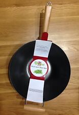 14in / 35cm Diameter Spun Steel Wok Non Stick Bamboo Handle