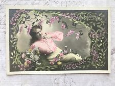Beautiful Lady French Fashion Original Vintage Postcard