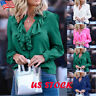 US Women V Neck Ruffles Frill Shirt Ladies Casual Long Sleeve Jumper Tops Blouse