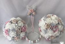 Wedding Flowers Rose bouquet, Bride ,Bridesmaid ,Flower Girl wand, pink ,posy