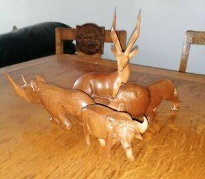 Vintage 60s Wooden Carved 4 Figures / Ornaments
