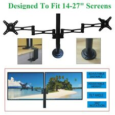 Dual LED Screen TV Monitor Desk Mount 2 Arms Stand Twin Bracket Fits Up To 27""