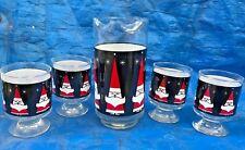 New listing Vintage 1962 Holt Howard Libbey Atomic Santa Cocktail Glass Set Mid Century Rare