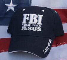 FBI FIRM BELIEVER IN JESUS BIBLE GOD CROSS CHRISTIAN CROSS HAT CAP PIN UP HEAVEN