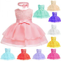 Baby Girl Christening Baptism Dress Wedding Party Birthday Dresses 16 Colors