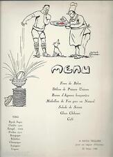 JOSEPH HEMARD Menu illustré pour légion d'honneur de Raoul TRIQUERA 1946 Rugby