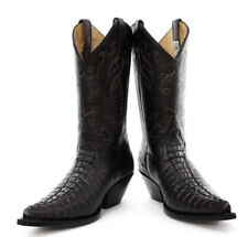 fcc95768934 Grinders Carolina Brown Western Cowboy Real Leather BOOTS With Crocodile  Pattern 8 UK / 42 EU