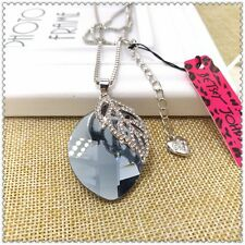 Betsey Johnson Crystal leaves pendant Long necklace Sweater chain charm AA421