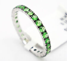 18k White Gold 1.01tcw Green Emeralds 2.25mm Engagement Eternity Band Ring,6