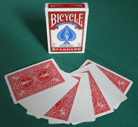 1 DECK Bicycle STANDARD RED BACK-BLANK FACE gaff magic playing cards