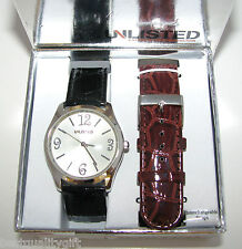 UNLISTED INTERCHANGABLE BLACK+BROWN CROC BANDS+SILVER DIAL WATCH-UL9005-NEW