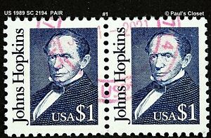 US 1989 JOHNS HOPKINS SC 2194 PAIR USED NO GUM HANDSTAMPED RED CNX F/VF #1