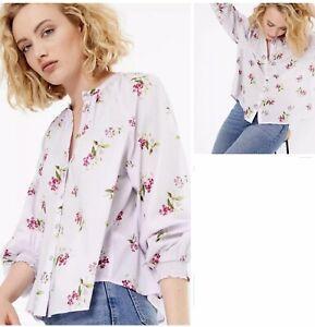 M&S Per Una Pure Cotton Lilac Top Blouse Size 18-20-22